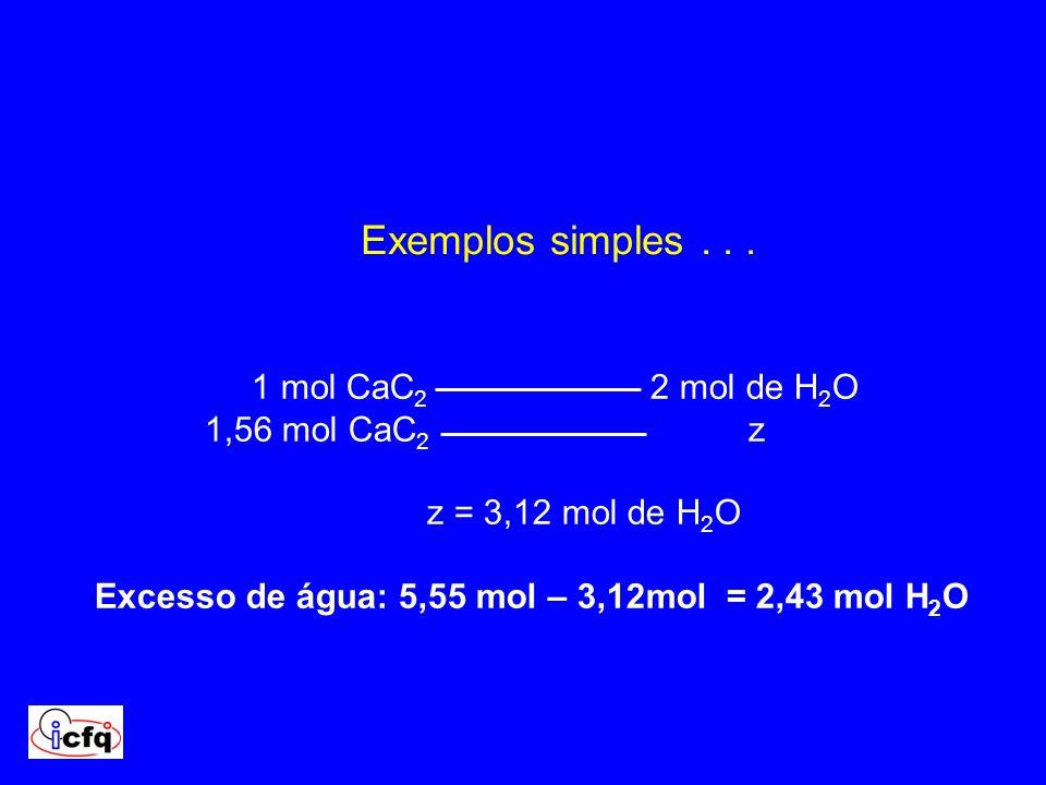 Excesso de água: 5,55 mol – 3,12mol = 2,43 mol H2O