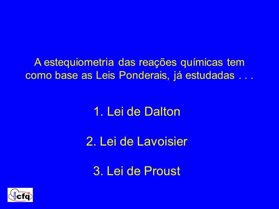 Lei de Dalton 2. Lei de Lavoisier 3. Lei de Proust