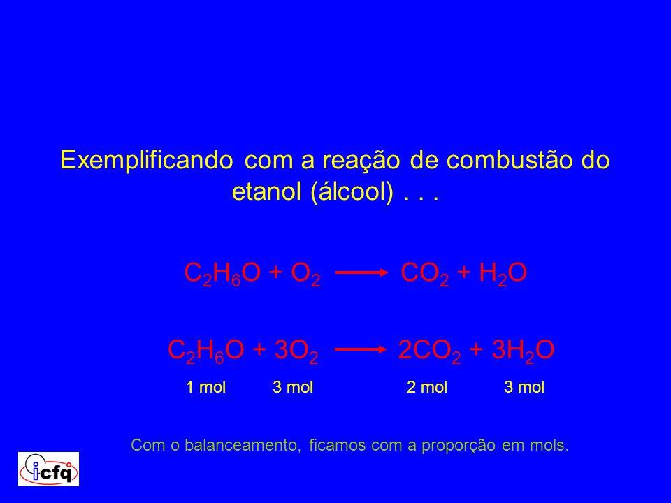 Exemplificando com a reação de combustão do etanol (álcool) . . .
