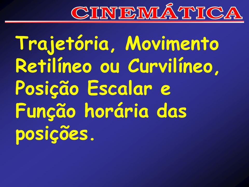 CINEMÁTICA Trajetória, Movimento Retilíneo ou Curvilíneo, Posição Escalar e Função horária das posições.