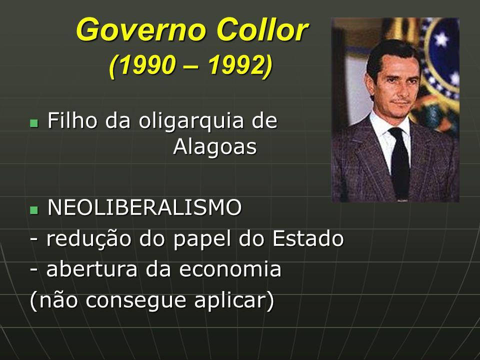 Governo Collor (1990 – 1992) Filho da oligarquia de Alagoas
