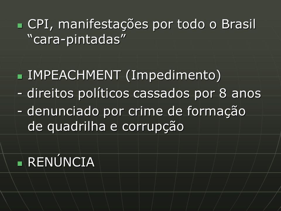 CPI, manifestações por todo o Brasil cara-pintadas