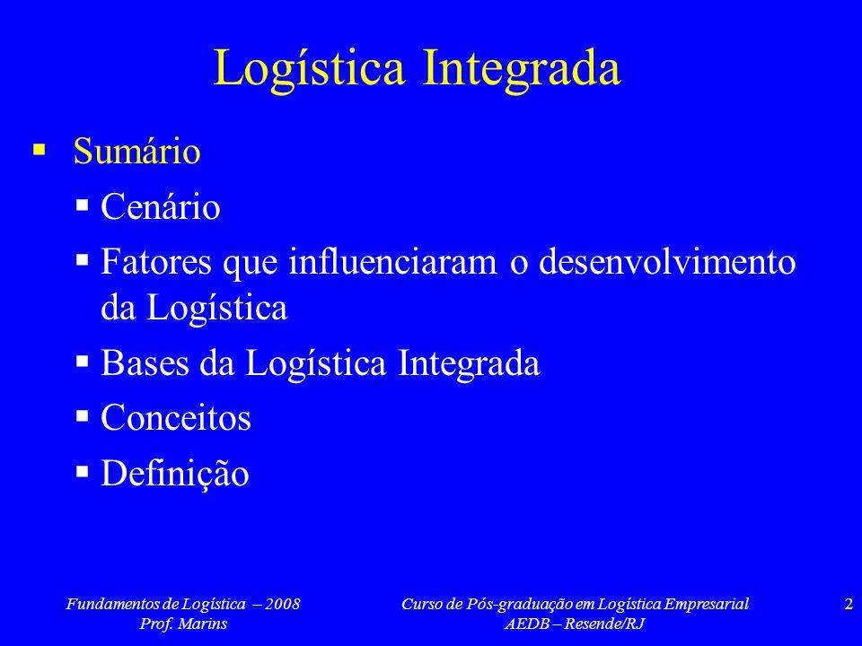Logística Integrada Sumário Cenário