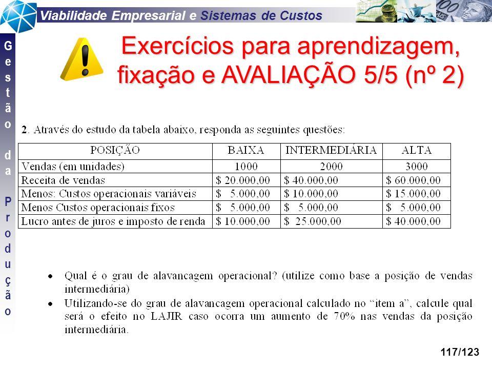 Exercícios para aprendizagem, fixação e AVALIAÇÃO 5/5 (nº 2)
