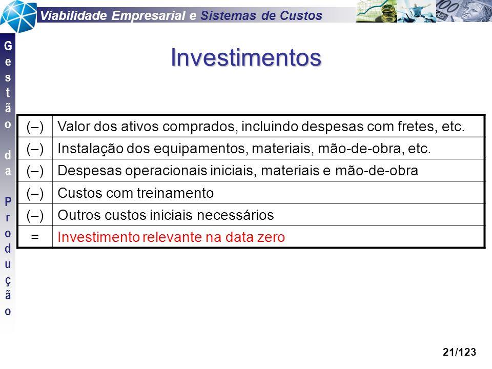 Investimentos (–) Valor dos ativos comprados, incluindo despesas com fretes, etc. Instalação dos equipamentos, materiais, mão-de-obra, etc.