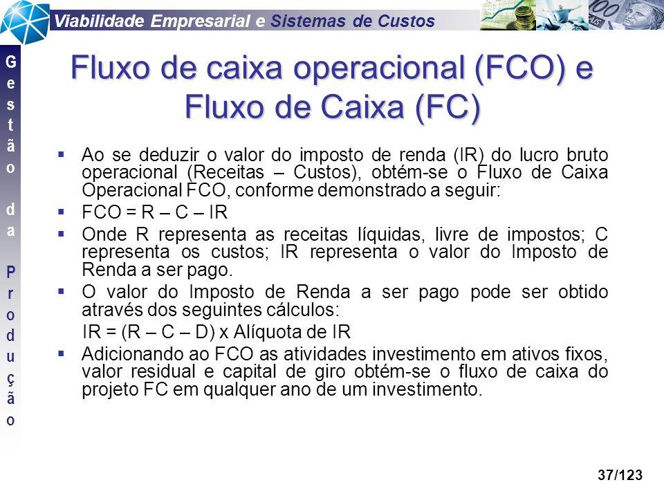 Fluxo de caixa operacional (FCO) e Fluxo de Caixa (FC)