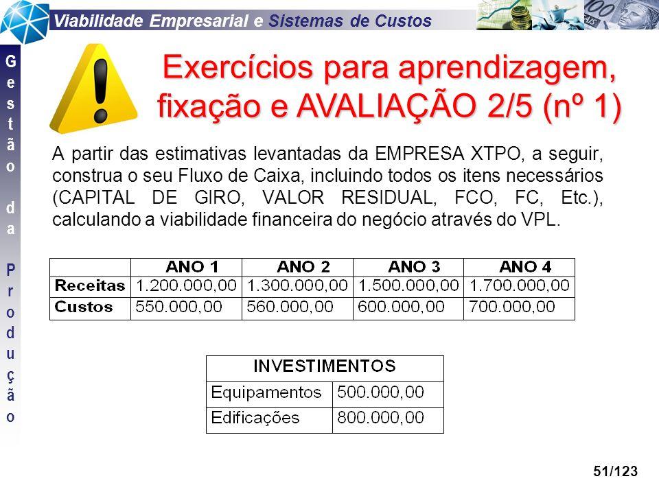 Exercícios para aprendizagem, fixação e AVALIAÇÃO 2/5 (nº 1)