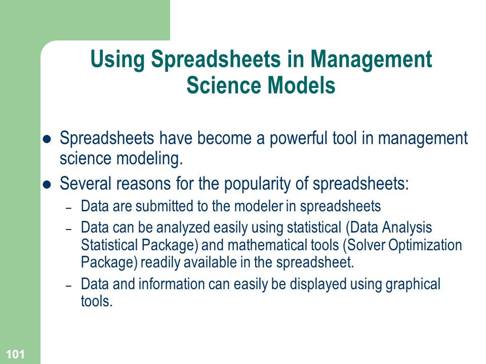 Using Spreadsheets in Management Science Models