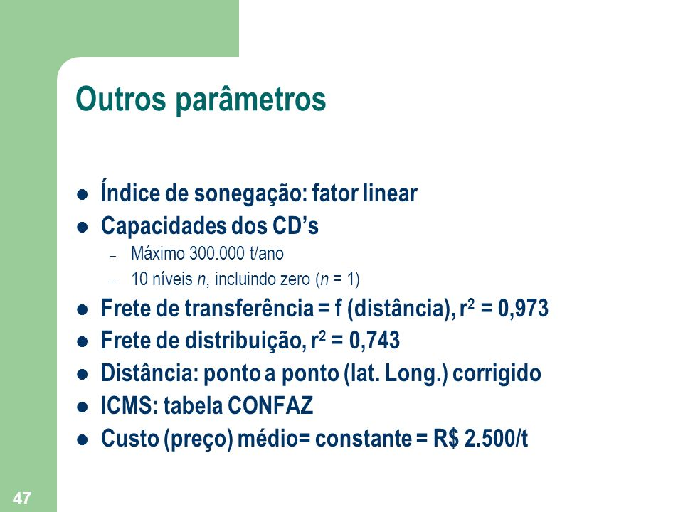 Outros parâmetros Índice de sonegação: fator linear