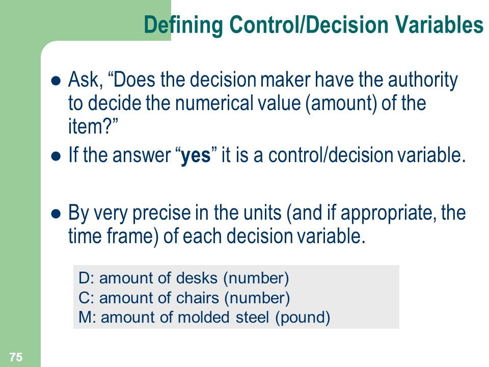 Defining Control/Decision Variables