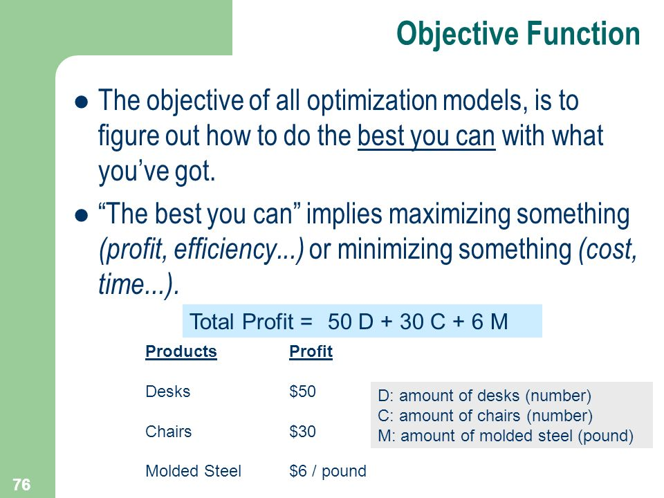 Objective Function The objective of all optimization models, is to figure out how to do the best you can with what you've got.