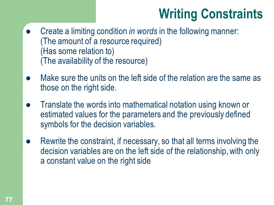 Writing Constraints