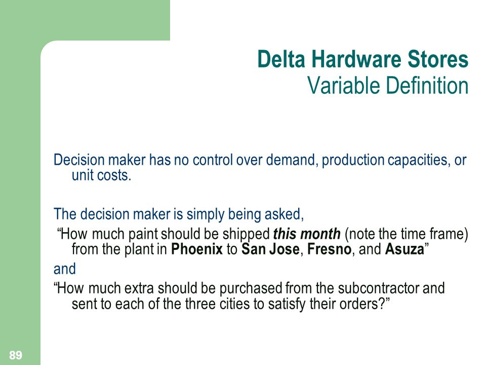 Delta Hardware Stores Variable Definition