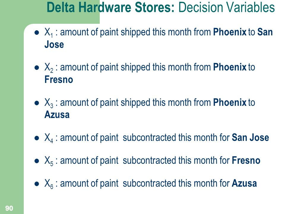 Delta Hardware Stores: Decision Variables