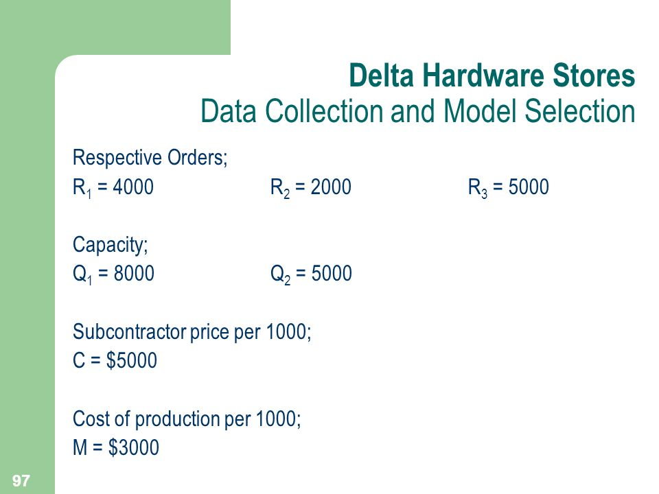 Delta Hardware Stores Data Collection and Model Selection