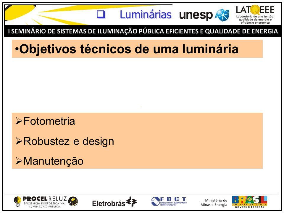 Objetivos técnicos de uma luminária