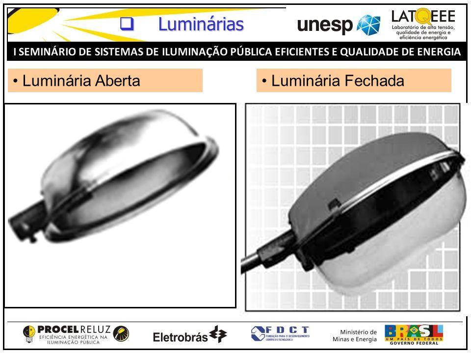 Luminárias Luminária Aberta Luminária Fechada