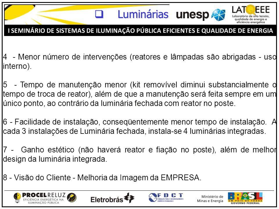 Luminárias 4 - Menor número de intervenções (reatores e lâmpadas são abrigadas - uso interno).
