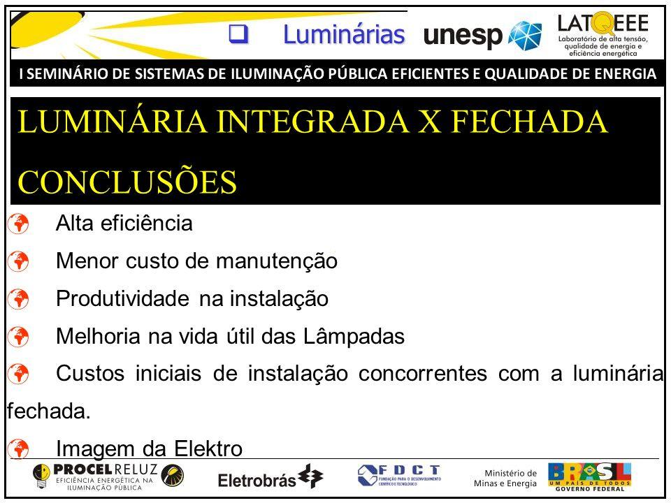 LUMINÁRIA INTEGRADA X FECHADA CONCLUSÕES