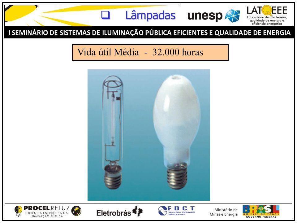 Lâmpadas Vida útil Média - 32.000 horas