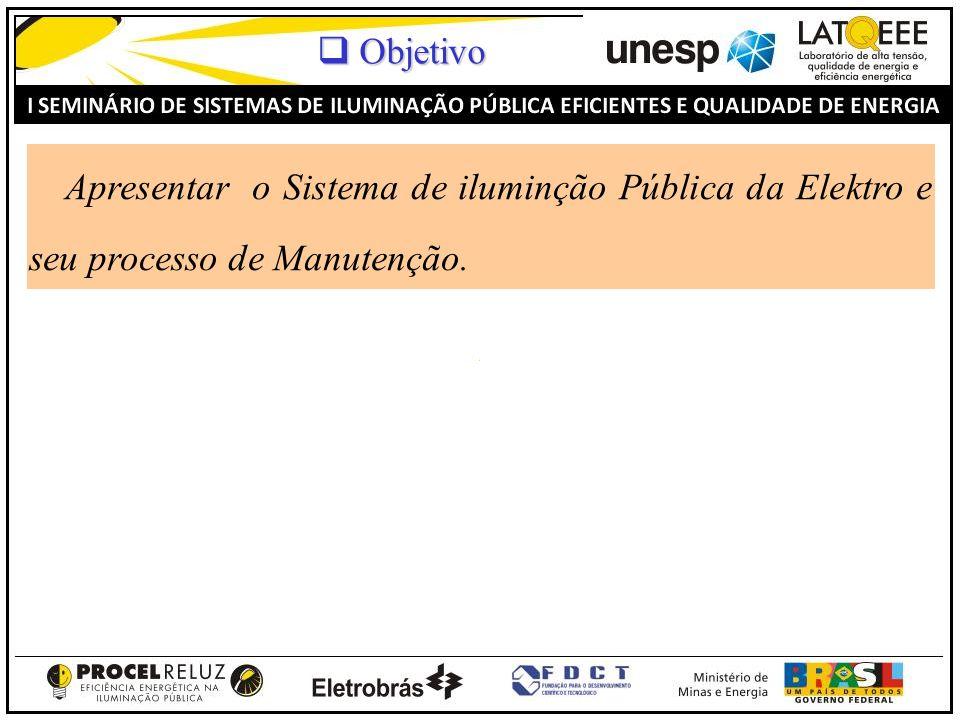 Objetivo Apresentar o Sistema de iluminção Pública da Elektro e seu processo de Manutenção.
