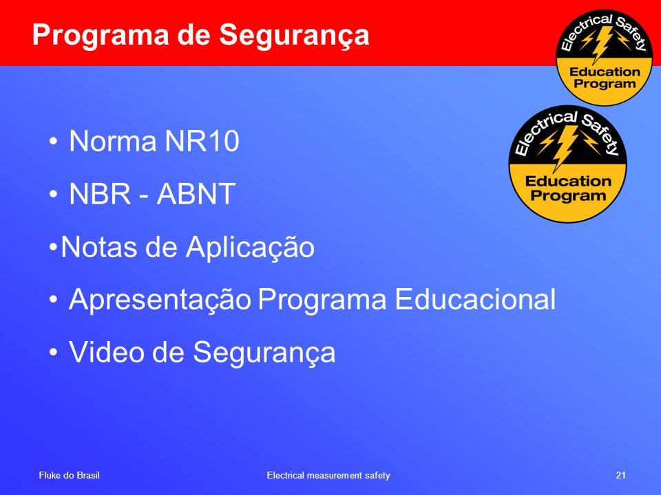 Programa de Segurança Norma NR10. NBR - ABNT. Notas de Aplicação. Apresentação Programa Educacional.