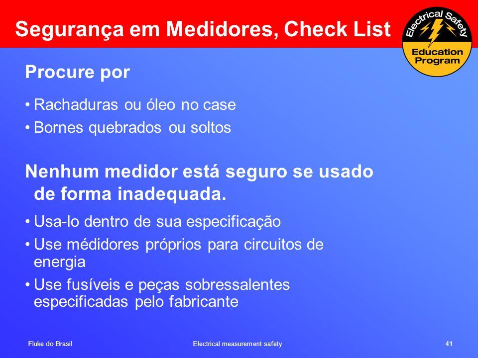Segurança em Medidores, Check List