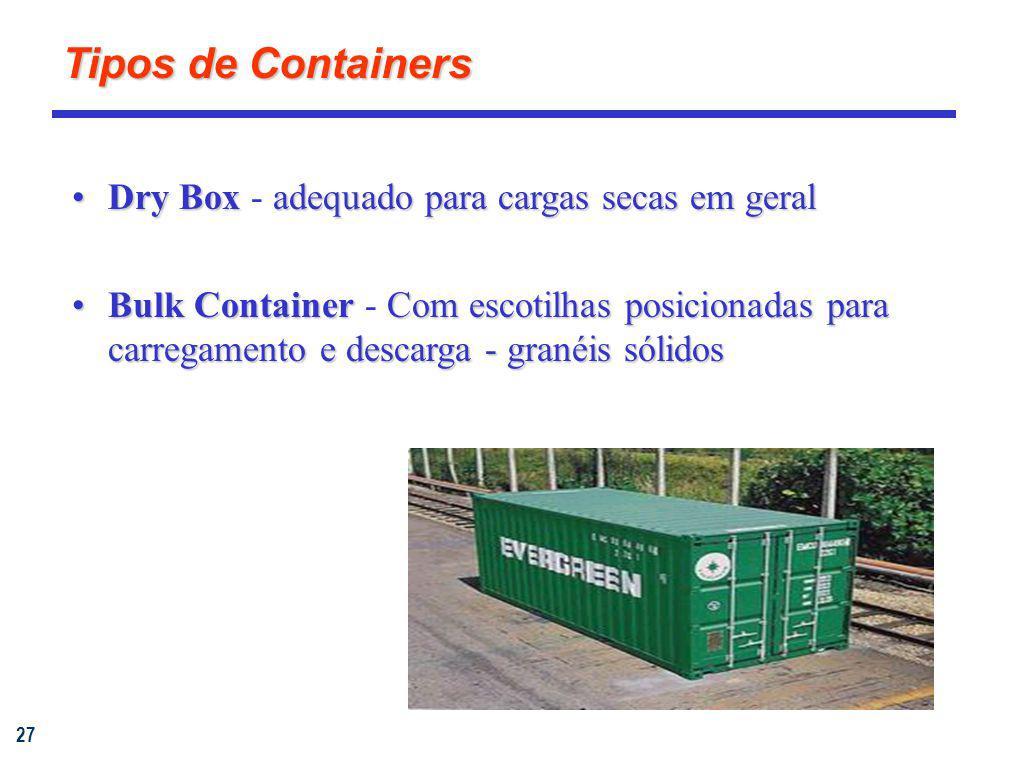 Tipos de Containers Dry Box - adequado para cargas secas em geral