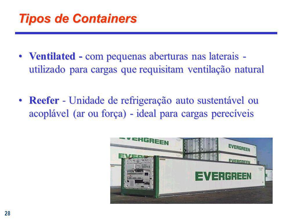 Tipos de Containers Ventilated - com pequenas aberturas nas laterais - utilizado para cargas que requisitam ventilação natural.