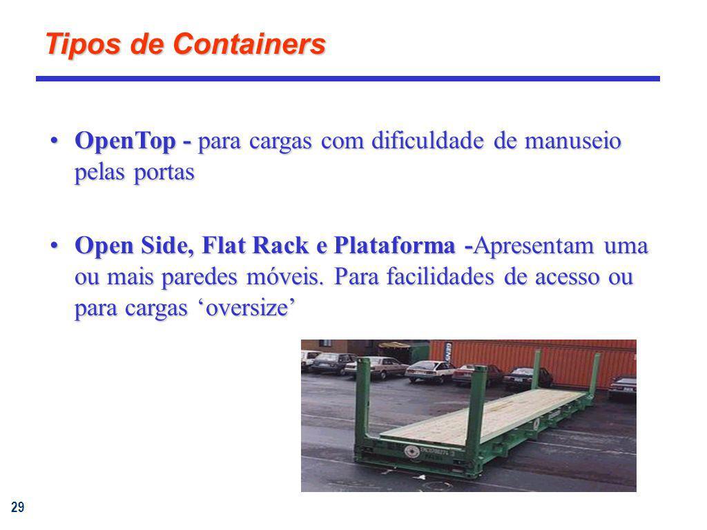 Tipos de Containers OpenTop - para cargas com dificuldade de manuseio pelas portas.