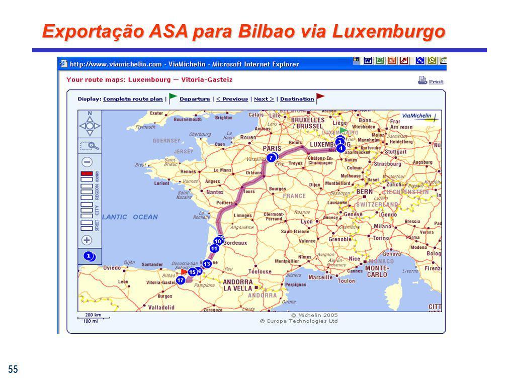 Exportação ASA para Bilbao via Luxemburgo