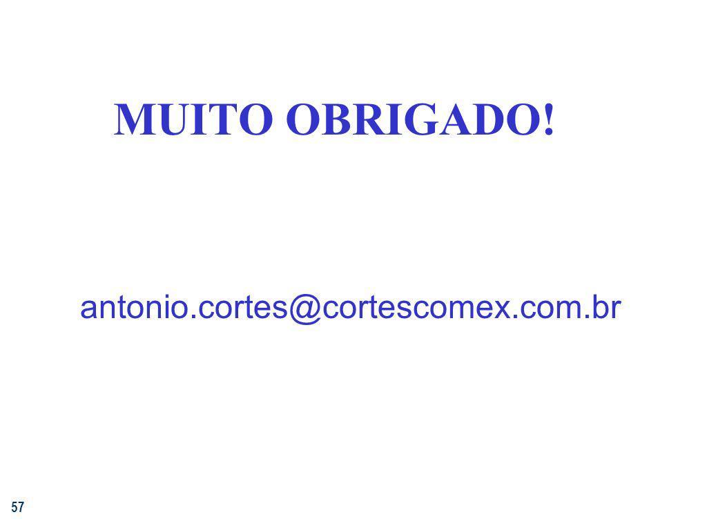 MUITO OBRIGADO! antonio.cortes@cortescomex.com.br