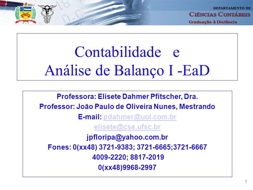 Contabilidade e Análise de Balanço I -EaD