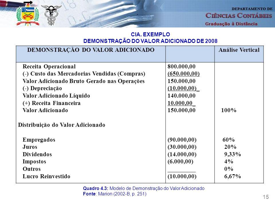 DEMONSTRAÇÃO DO VALOR ADICIONADO Análise Vertical