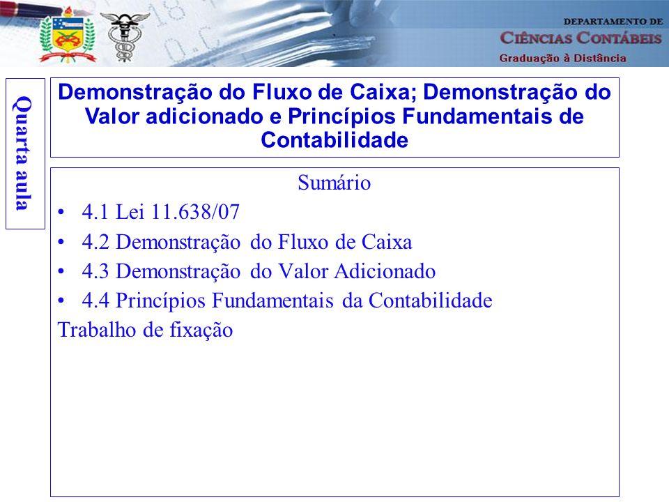 Quarta aulaDemonstração do Fluxo de Caixa; Demonstração do Valor adicionado e Princípios Fundamentais de Contabilidade.