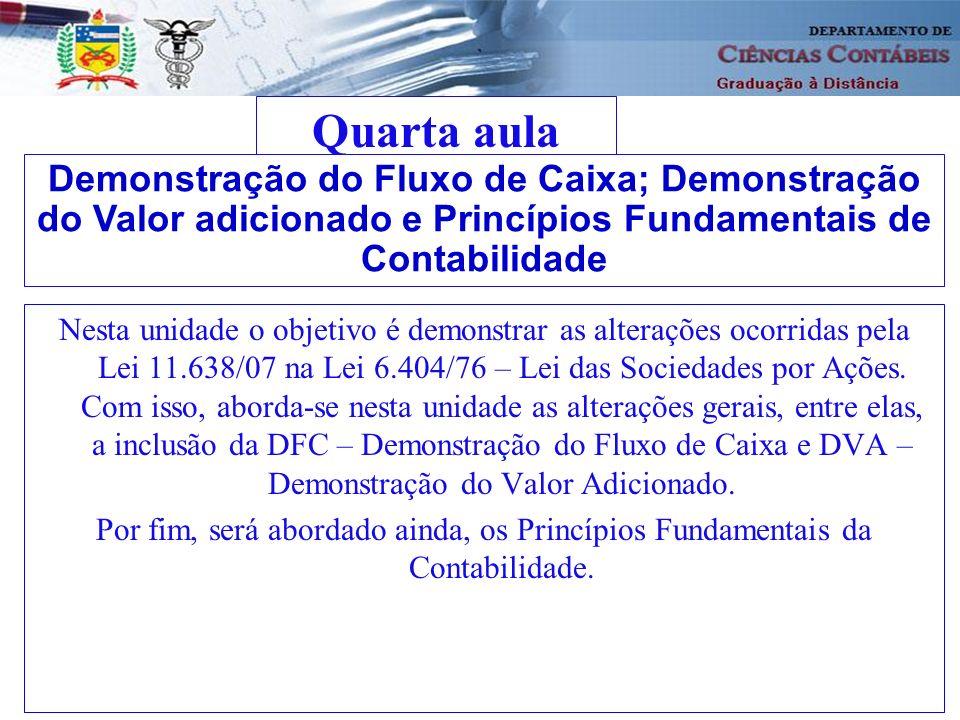 Quarta aula Demonstração do Fluxo de Caixa; Demonstração do Valor adicionado e Princípios Fundamentais de Contabilidade.