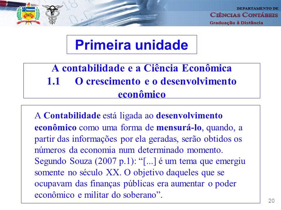Primeira unidade A contabilidade e a Ciência Econômica 1.1 O crescimento e o desenvolvimento econômico.