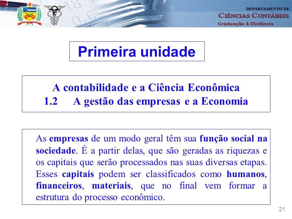 Primeira unidade A contabilidade e a Ciência Econômica 1.2 A gestão das empresas e a Economia.