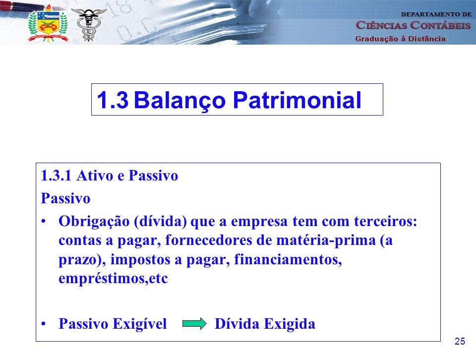 1.3 Balanço Patrimonial 1.3.1 Ativo e Passivo Passivo
