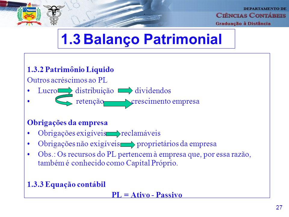 1.3 Balanço Patrimonial 1.3.2 Patrimônio Líquido