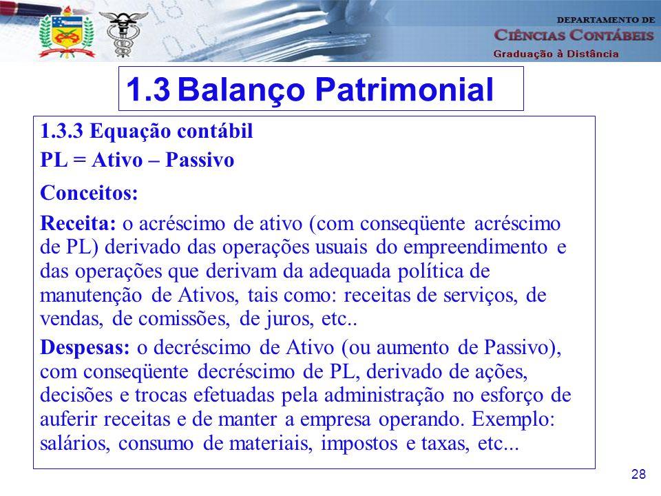 1.3 Balanço Patrimonial 1.3.3 Equação contábil PL = Ativo – Passivo