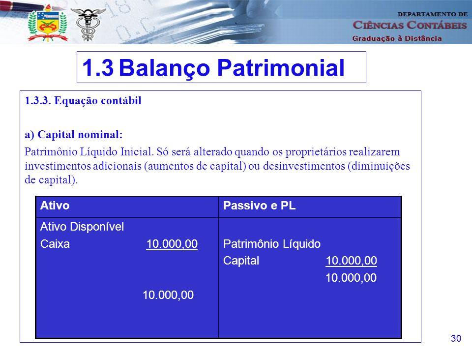 1.3 Balanço Patrimonial 1.3.3. Equação contábil a) Capital nominal: