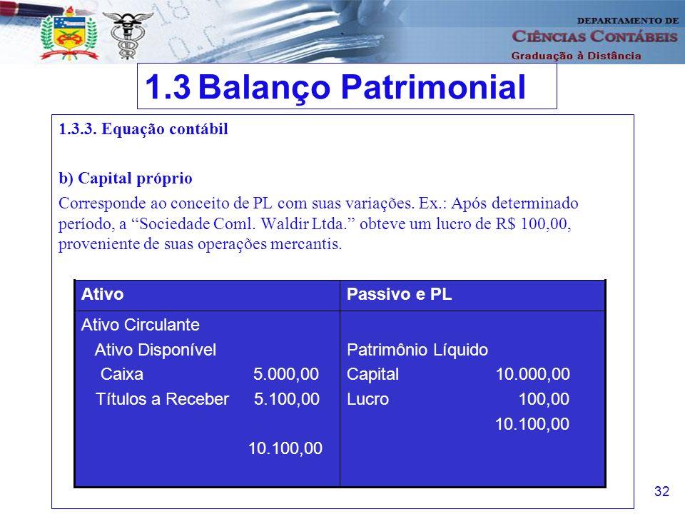 1.3 Balanço Patrimonial 1.3.3. Equação contábil b) Capital próprio