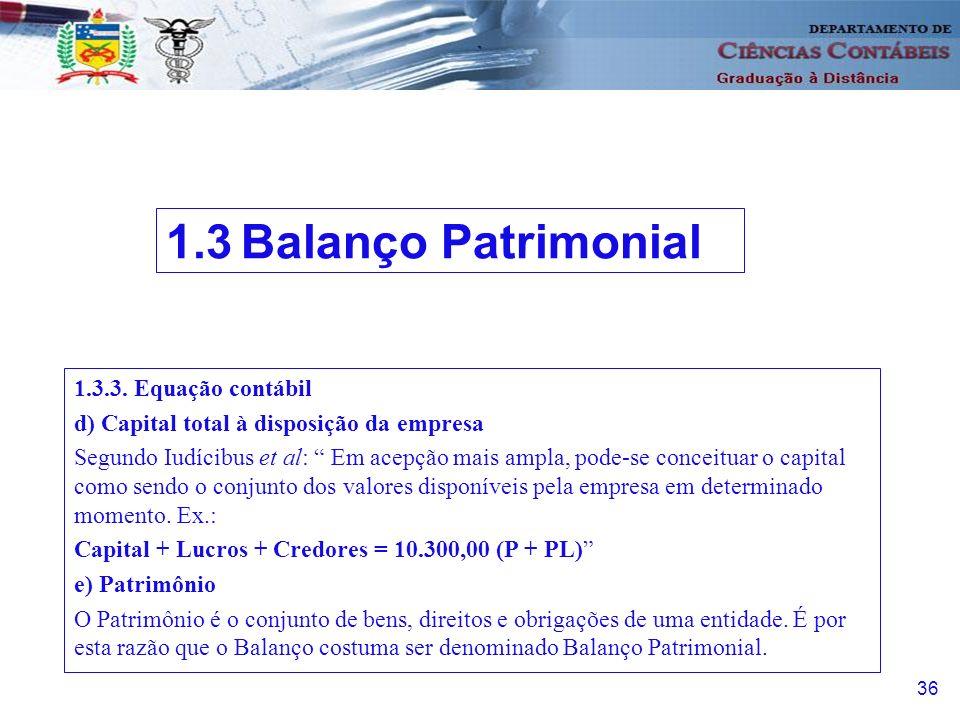 1.3 Balanço Patrimonial 1.3.3. Equação contábil