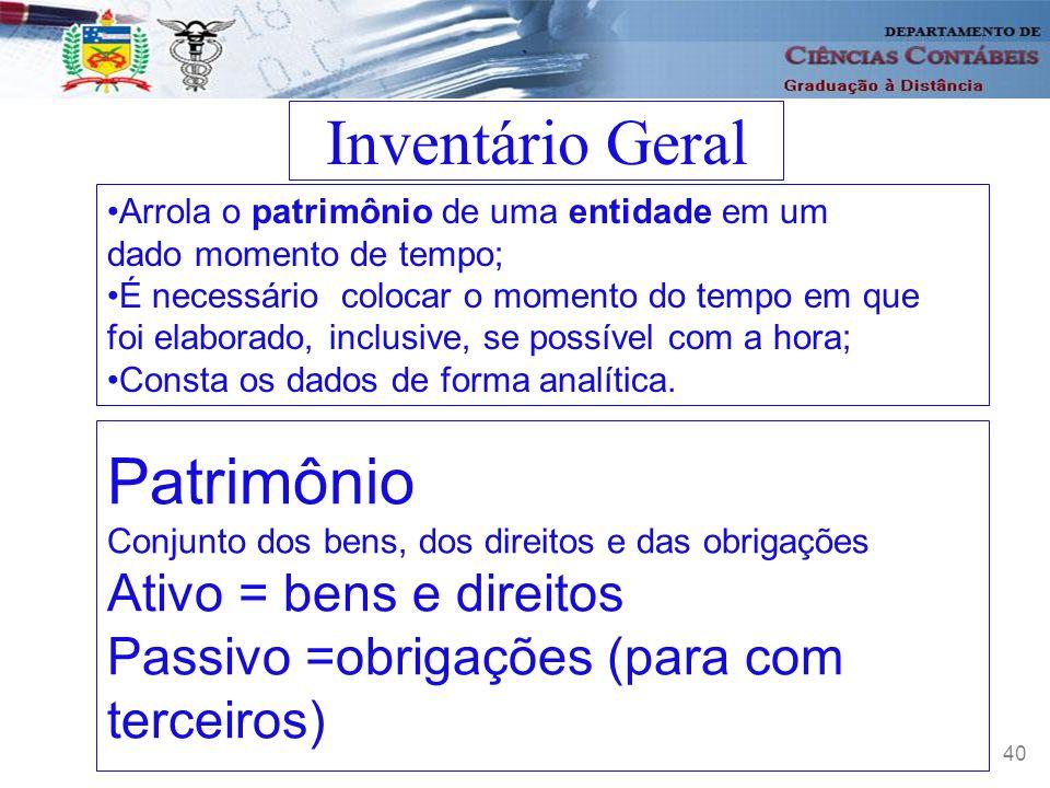 Inventário Geral Patrimônio Passivo =obrigações (para com terceiros)