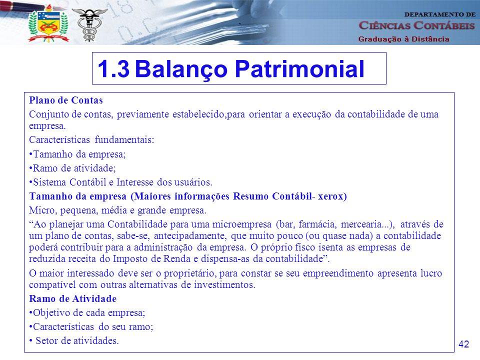 1.3 Balanço Patrimonial Plano de Contas