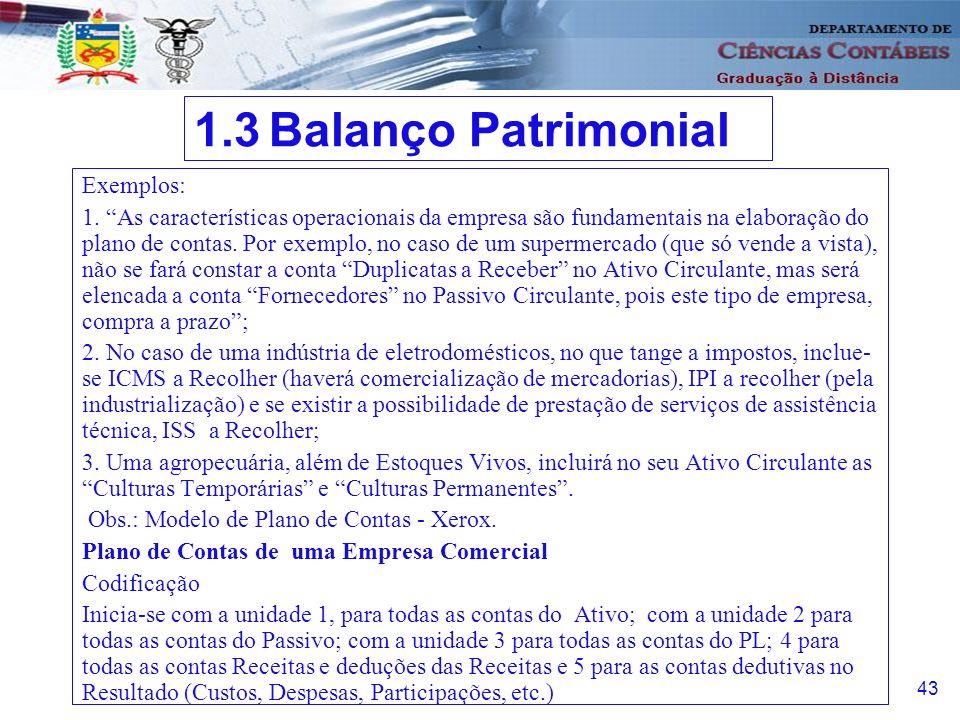 1.3 Balanço Patrimonial Exemplos: