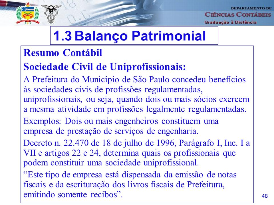 1.3 Balanço Patrimonial Resumo Contábil