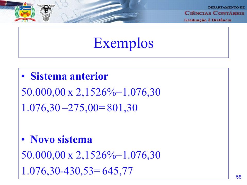 Exemplos Sistema anterior 50.000,00 x 2,1526%=1.076,30