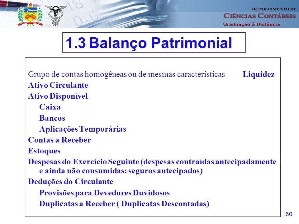 1.3 Balanço Patrimonial Grupo de contas homogêneas ou de mesmas características Liquidez. Ativo Circulante.